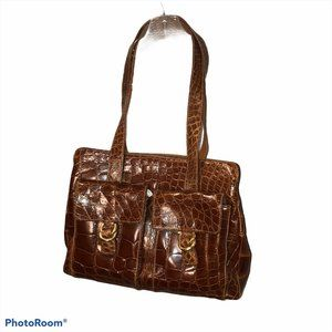 Maura Governa AS NEW brown Croc imprint leatherbag